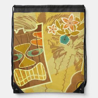 Hawaiian Tiki Mask Drawstring Backpack