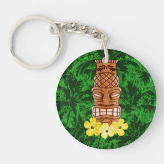Hawaiian Tiki Mask Double-Sided Round Acrylic Keychain