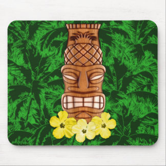 Hawaiian Tiki Mask Mouse Pad