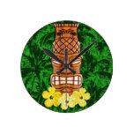 Hawaiian Tiki Mask Round Clock