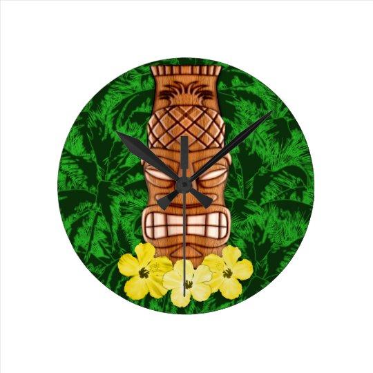 hawaiian tiki mask round clock zazzle com