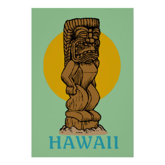 Hawaiian Tiki Poster