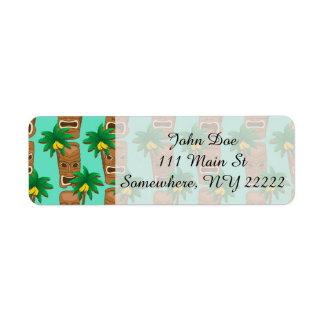 Hawaiian Tiki Repeat Pattern Label