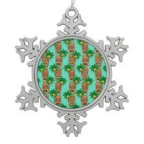 Hawaiian Tiki Repeat Pattern Snowflake Pewter Christmas Ornament