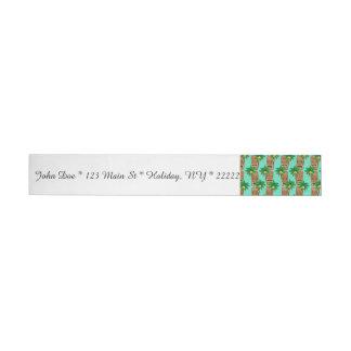 Hawaiian Tiki Repeat Pattern Wrap Around Address Label