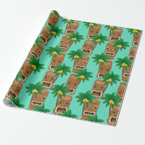 Hawaiian Tiki Repeat Pattern Wrapping Paper