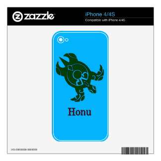 Hawaiian Tribal Green Sea Turtle on Ocean Blue Decals For iPhone 4