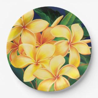 Hawaiian tropical del Plumeria del paraíso Plato De Papel De 9 Pulgadas