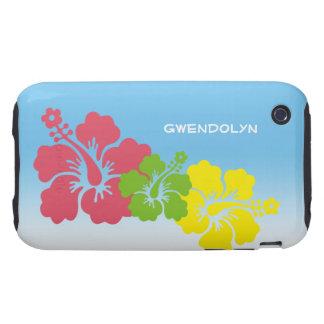 Hawaiian tropical del trío del flor de las flores carcasa resistente para iPhone