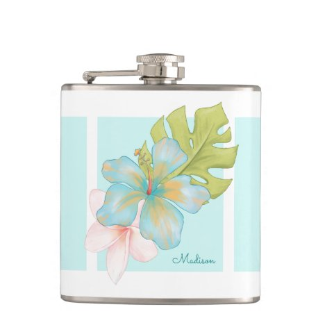 Hawaiian Tropical Floral Pattern with Name Flask