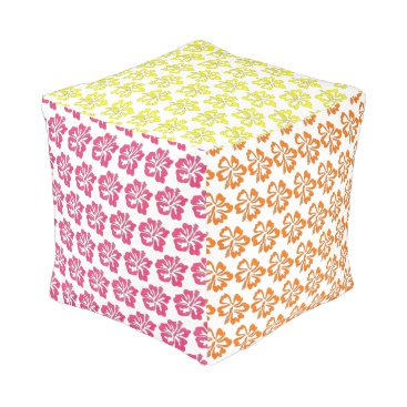 Hawaiian Themed Hawaiian Tropical Flower Hibiscus Floral Print Pouf