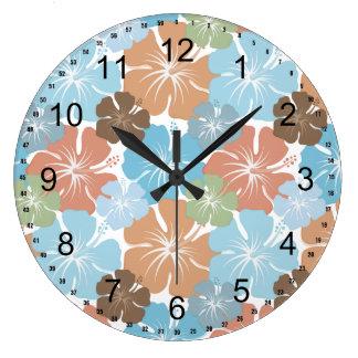 Hawaiian Tropical Hibiscus Flowers Large Clock