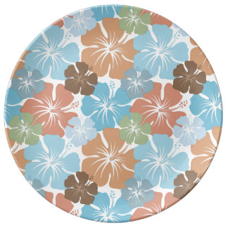 Hawaiian Tropical Hibiscus Flowers Porcelain Plate