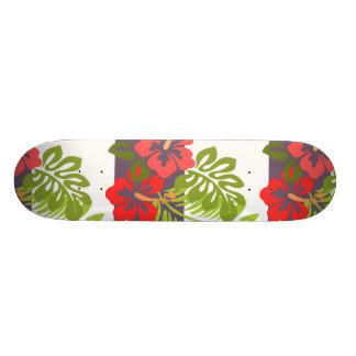 Hawaiian Tropical Island Hibiscus Flower Pattern Custom Skateboard