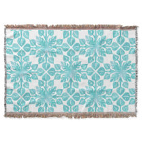Hawaiian Tropical Leaves Aqua Watercolor Pattern Throw