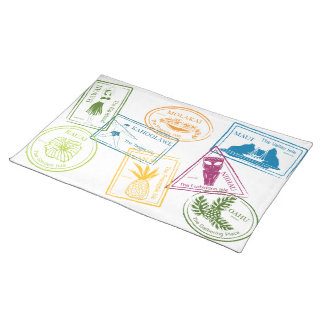 Hawaiian Tropical Passport Stamp Placemat