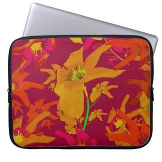 Hawaiian Tropical Style Lilies Collage Computer Sleeve