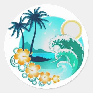 HAWAIIAN TROPICAL SURF ART CLASSIC ROUND STICKER