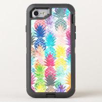 Hawaiian tropical watercolor pineapple pattern OtterBox defender iPhone 8/7 case