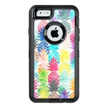 Hawaiian Tropical Watercolor Pineapple Pattern Otterbox Defender Iphone Case by girly_trend at Zazzle