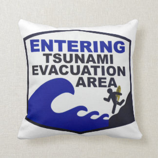 Hawaiian Tsunami Sign Throw Pillow