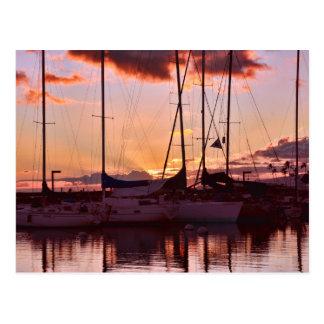 Hawaiian Twilight at the Boat Harbor Postcard