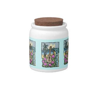 Hawaiian Ukulele Cookie Jar, Teal Background Candy Jars