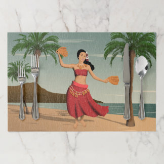 Hawaiian Vintage Hula Girl Distressed Placemats