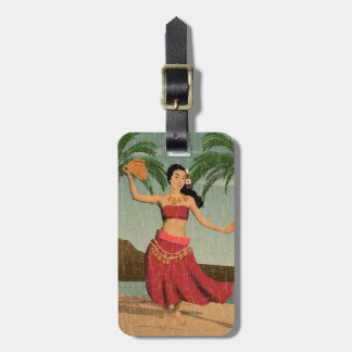 Hawaiian Vintage Hula Girl Distressed Postcard Luggage Tag