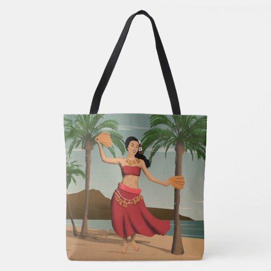 Hawaiian Vintage Hula Girl Postcard Beach Bag | Zazzle.com
