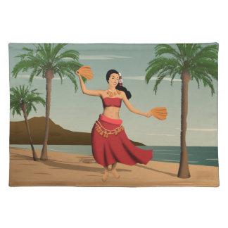 Hawaiian Vintage Hula Girl Postcard Cloth Placemat