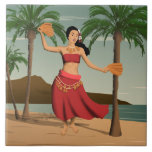 """Hawaiian Vintage Hula Girl Postcard Tile<br><div class=""""desc"""">In our vintage distressed Hawaiian postcard, this lovely hula girl is dancing a traditional Tahitian hula and telling the story of aloha with her hands and her hips. The palm trees sway to the balmy breezes on Waikiki Beach with Diamond Head in the background. This design is available in various...</div>"""