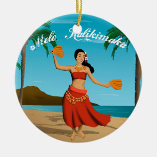 Hawaiian Vintage Mele Kalikimaka Customizable Double-Sided Ceramic Round Christmas Ornament