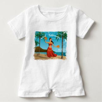 Hawaiian Vintage Mele Kalikimaka Postcard Baby Romper