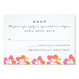 Hawaiian Watercolor Hibiscus Flower Wedding RSVP Card