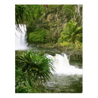 Hawaiian Waterfall 2 tiered Postcard