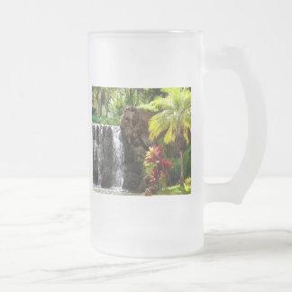Hawaiian Waterfalls Frosted Glass Beer Mug