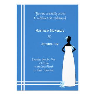 Hawaiian Wedding Blue Invites