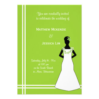 Hawaiian Wedding Green Personalized Invite