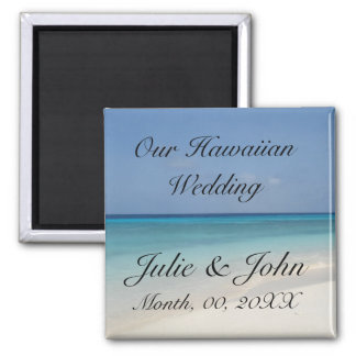 Hawaiian Wedding Save The Date 2 Inch Square Magnet