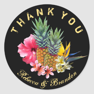 Hawaiian Wedding Thank You Black Classic Round Sticker