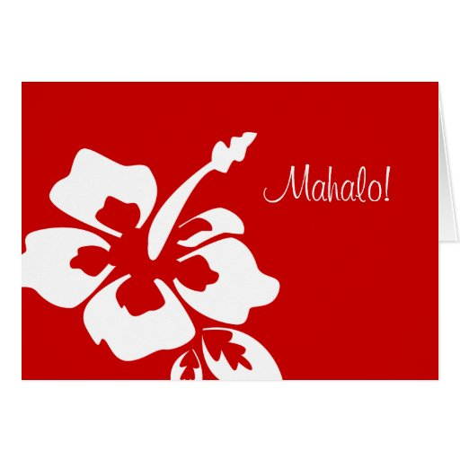 Hawaiian wedding thank you cards hibiscus red zazzle