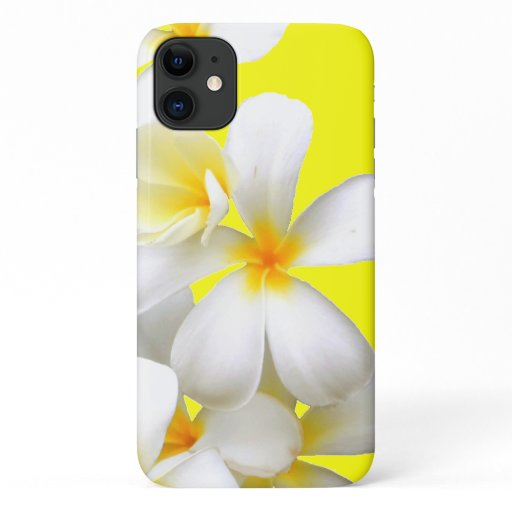 Hawaiian white plumeria flower yellow iPhone 11 case