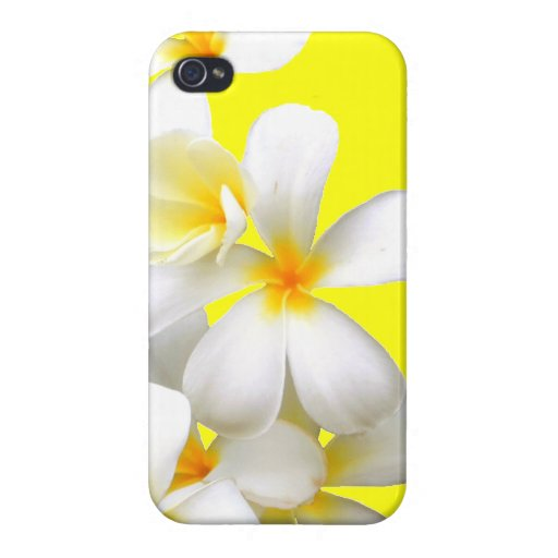 Hawaiian white plumeria flower yellow case for iPhone 4