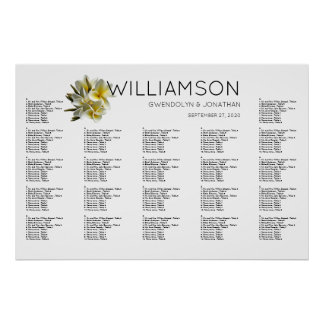 Hawaiian Yellow Plumeria Seating Chart