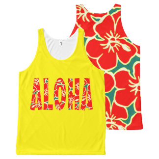 Hawaiian Yellow Red Hibiscus Luau Tropical Flowers All-Over-Print Tank Top