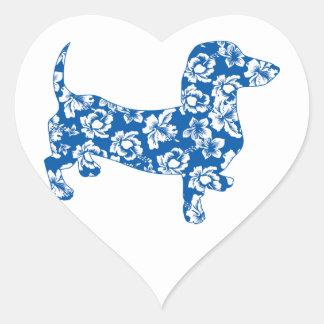 Hawaiin Aloha Doxie Dachshund Heart Sticker