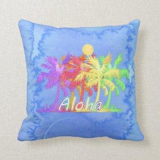 Hawaiin Aloha Palm Tree Watercolors Throw Pillows