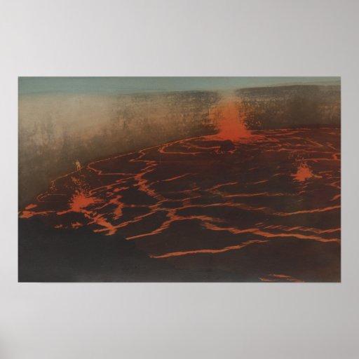 HawaiiView de los rastros de la lava en KilauerHaw Impresiones