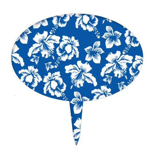 Hawiian Blue Flower Pattern Cake Toppers